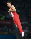 Canada's Jason Burnett, from Etobicoke, Ont. competes in the mens trampoline final at the the Beijing Olympics in Beijing, China Tuesday, Aug.19, 2008. Burnett won silver in the competition.  THE CANADIAN PRESS/Adrian Wyld